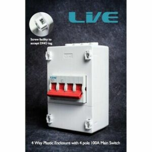 Live Electrical 100A 4 Pole Mains Supply Isolator and Enclosure PEN4100